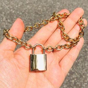 Unisex Stainless Steel Padlock Key Necklace